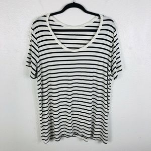 Ava & Viv Plus Size 2X Black White Striped Tee